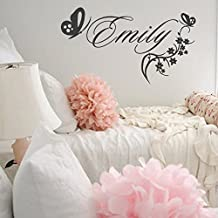 """Wall Decal Decor Girls Name Wall Decal - Personalized Name with Flowers and Butterflies - Monogrammed Vinyl Wall Decal Monogram Letters(white,22""""tall)"""