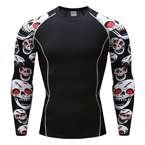 VIVIDSLHFR Bodybuilding 3D Effect of Tattoo Men T-Shirt Quick Dry Fitness Long T Shirts]()