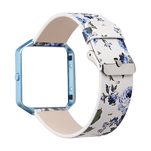 YOSWAN Replacement Band for Fitbit Blaze, Watchband Floral Soft Leather Strap Replacement Watch Band Wristband Bracelet Strap and Frame for Fitbit Blaze (White Blue+ Blue Frame) (09 Away Shirt)