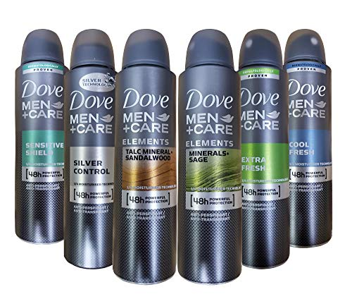 Dove Men+Care Dry Spray Antiperspirant Deodorant 150 ML Pack of 6 Mixed Scents best to buy