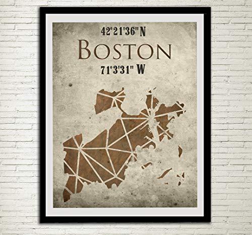 Boston City Map Print Boston Street Map Boston Coordinate Art Poster Massachusetts MA USA Wall Decor City Street Road Map Wall Art Travel -