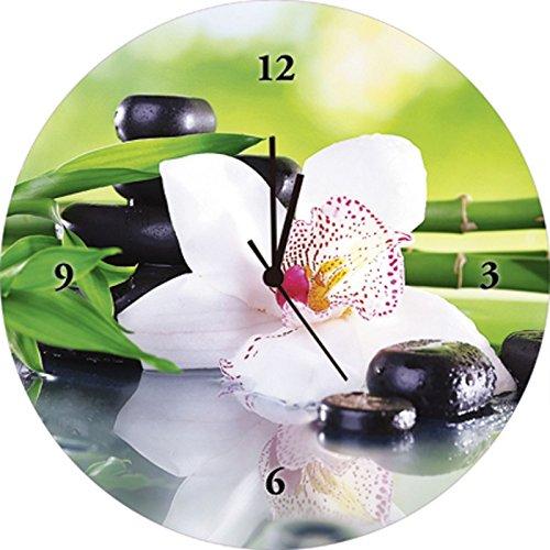 Artland Qualitätsuhren I Funk Wanduhr Designer Uhr Glas Funkuhr Größe: 35 Ø Zen Pflanze Grün H8GR