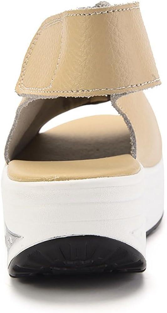 DAFENP Sandali con Zeppa Donna Estivi Comode Cuoio Platform Sandalo Eleganti Plateau Scarpe con Tacco per Camminare Beige