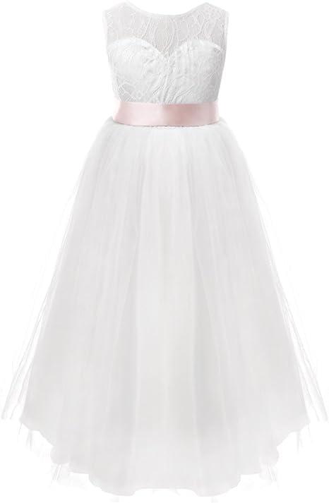 FEESHOW Robe de Mariage Fille Demoiselle d'honneur Robe soirée Bustier Dentelle Floral Enfant Robe de Cérémonie Tulle Jupe Longue Fille 2 12 Ans