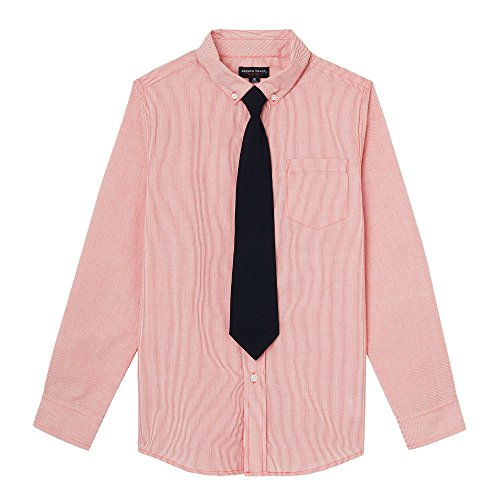 Kids Cranberry Apparel - French Toast Big Boys' Long Sleeve Dress Shirt with Tie, Cranberry, 14