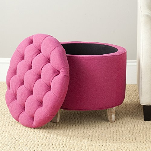 Safavieh Hudson Collection Amelia Tufted Storage Ottoman, Berry