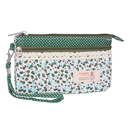 Adoptfade Womens Canvas Floral Wallet Wristlet Clutch Bag,Green