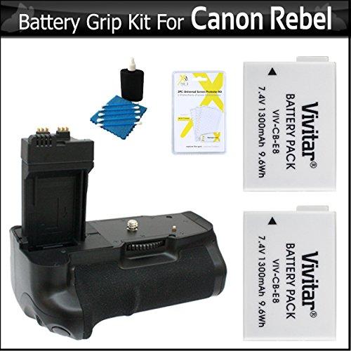 (Zeikos Battery Grip with 2 Extra Replacement LP-E8 Batteries for Canon Rebel T2i/ EOS 550D T3i, T4i, T5i Digital SLR Bundle)