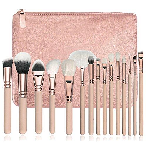 Makeup Brushes Set, KIMYO Foundation Blush Blending Eyeshadow Eyeliner Lip Cosmetic Tool Kit with PU Leather Package (15PC Pink Brushes Set)