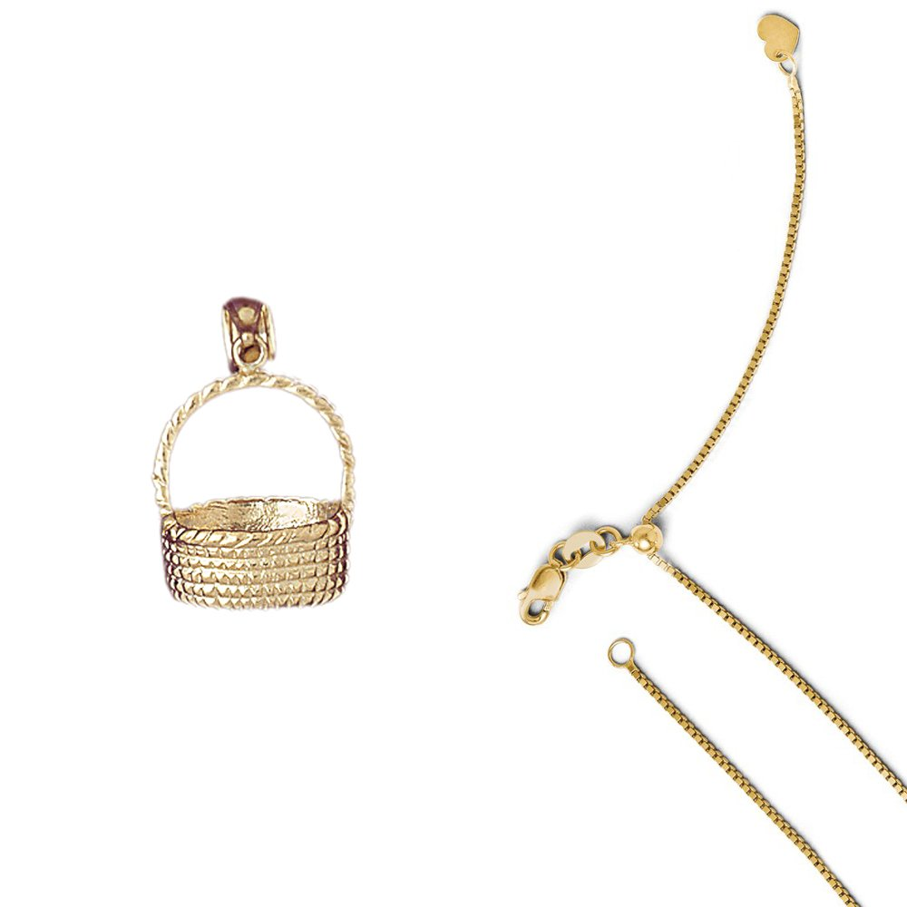 14K Yellow Gold 3-D Basket Pendant on an Adjustable 14K Yellow Gold Chain Necklace