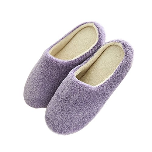 Maybest Unisex Couple Slippers Spring Winter Warm Home Indoor Velvet Shoes Flat Snow Shoes Soft Comfortable Sole For Womens Men Purple 217pDl6