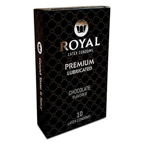 Flavored Condoms (Royal Premium Chocolate Flavored and Scented Condoms - Ultra Thin, Lubricated, High Quality Non-Toxic Latex and Odor Free for Long Lasting Pleasure and Performance, 10 Count)