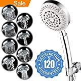 8 rain shower head with handheld - Universal Chrome 8 Function Hand-held Shower Head w/ 5ft Flexible hose – American Standard ShowerHead with Anti-Clogging Nozzles for High/Low Pressure Rain Massage Spa Water Saving Output