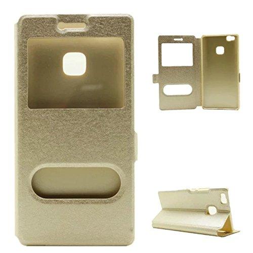 YAJIE-Carcasa Funda Para Huawei G9 / G9 Lite / P9 Lite, cuero PU de color liso con soporte Funda de ventana de doble ventana abierta de protección (Responda o rechace las llamadas sin abrir la tapa) ( Gold