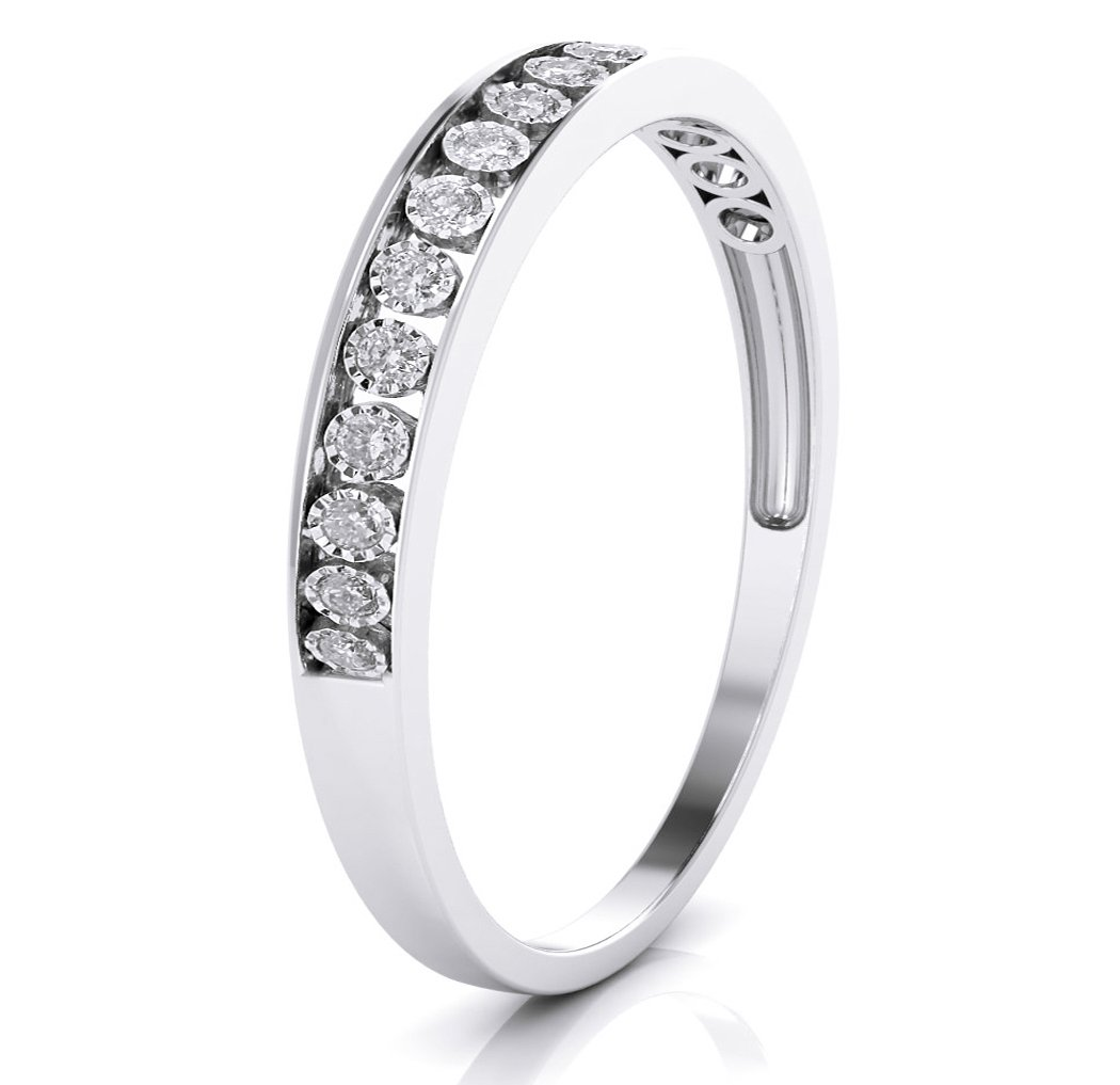 10k White Gold 3mm Channel Set Diamond Band Wedding Anniversary Ring (0.15 ct I-J Color Clarity Si2) (white-gold, 6.5)