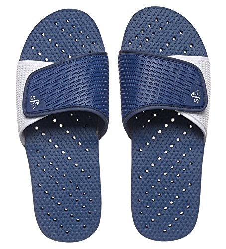 Showaflops Mens Antimicrobial Shower & Water Sandals for Pool, Beach, Dorm and Gym - Navy/White Slide 9/10