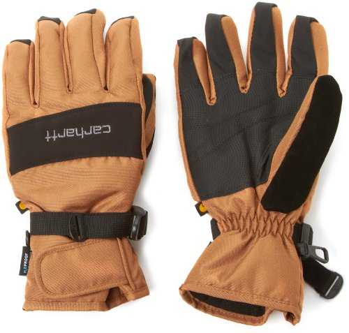 (Carhartt Men's W.B. Waterproof Windproof Insulated Work Glove, Brown/Black, Large)