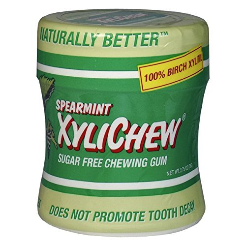 (Xylichew Gum, Sugar Free Cheweing Gum, Spearmint, 60 Pieces, 2.75 oz (78 g) by Xylichew)