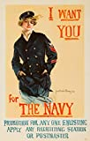 I Want You For the Navy Vintage Poster (artist: Christy, Howard Chandler) USA c. 1917 (24x36 Giclee Gallery Print, Wall Decor Travel Poster)