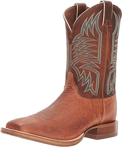 Justin Smooth Ostrich Cognac Western Square Toe Boot, Size 11 2E US Mens