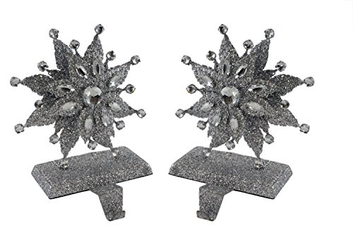 Party Explosions Glitter Snowflakes Jeweled Holiday Stocking Holders - Set of 2