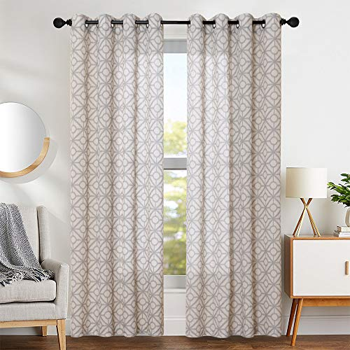 Vangao Curtains Linen Textured Print Moroccan Grommet Top 84 Inches Length Grey Geometric Drapes for Living Room, 2 Panels, Gray