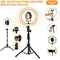 Ring Light 10.2 Selfie Light Ring with Adjustable Bracket 16.56 to 53.5 Remote Control 3 Light Modes /&10 Brightness 120 Bulbs Dimmable Ringlight for YouTube Video//Live Stream//Makeup//Photography
