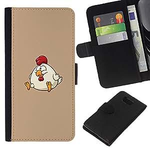 KLONGSHOP // Tirón de la caja Cartera de cuero con ranuras para tarjetas - La grasa de dibujos animados Divertido Divertido - Samsung ALPHA G850 //