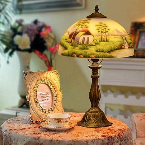 Grune paisaje pintado a mano Lámpara de mesa de cristal ...