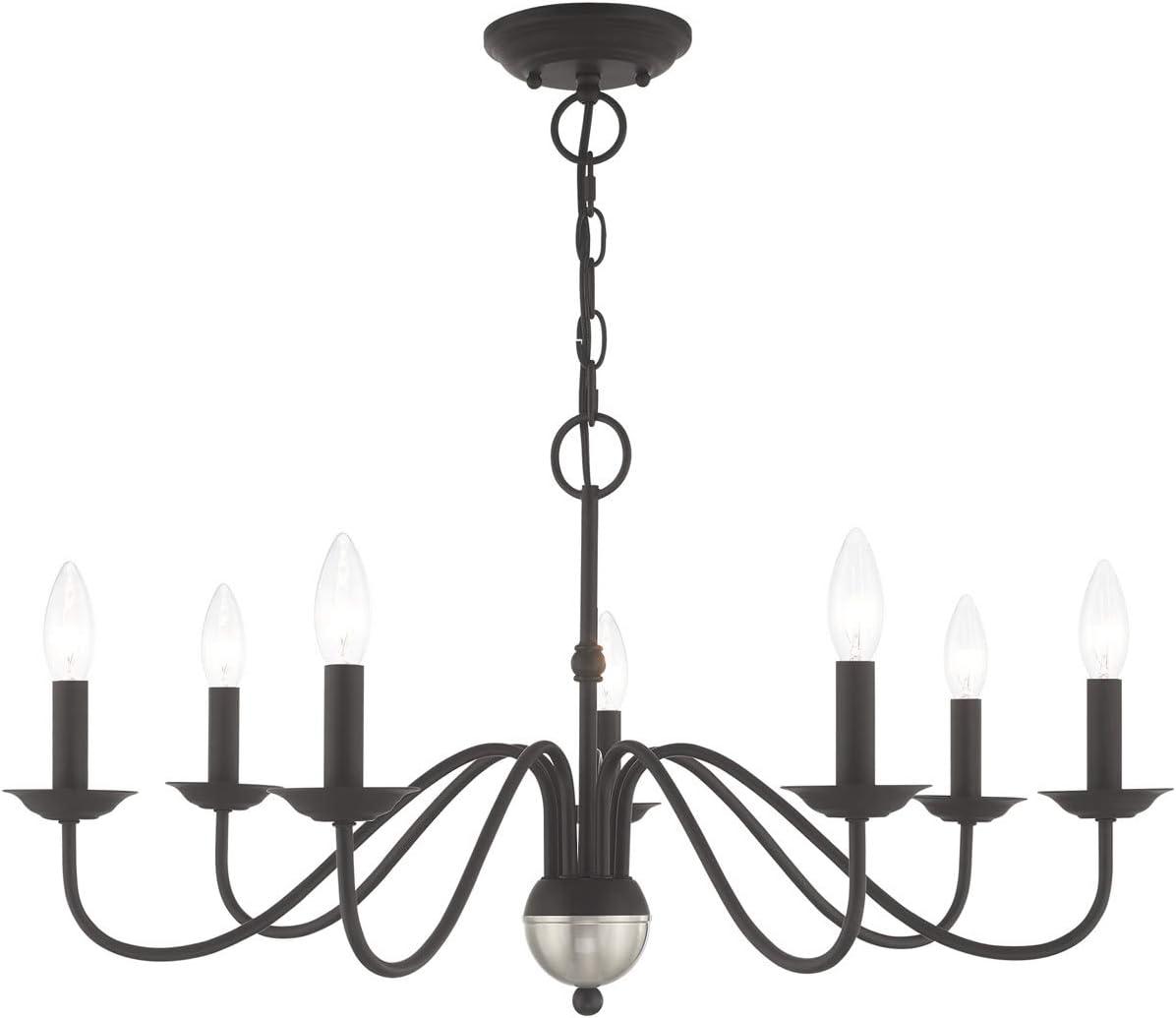 Chandeliers 7 Light Fixtures with Black Finish Steel Material Candelabra 16 420 Watts