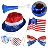 PBPBOX Veterans Day Decorations with Red, White, Blue Hat, Bow Tie, Shutter Glasses, A Flag and A Horn for Patriotic Party