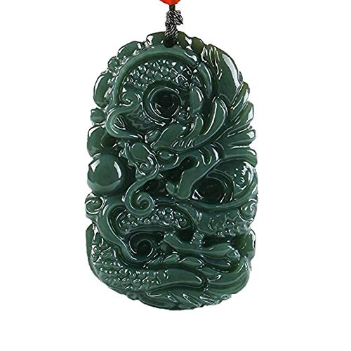 - EASTCODE Charming Pure Natural Handmade Carved Qing Jade Dragon Necklace Pendant