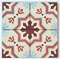 "Rustico Tile and Stone RTS19 Aztec Cement Tile Pack of 13, 8"" x 8, Terracotta/Maroon/Gray/Beige"
