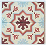 "terra cotta tile  RTS19 Aztec Cement Pack of 13, 8"" x 8, Terracotta/Maroon/Gray/Beige"