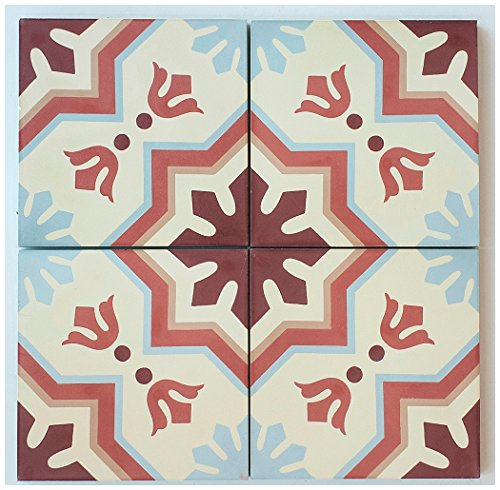 "RTS19 Aztec Cement Pack of 13, 8"" x 8, Terracotta/Maroon/Gray/Beige"