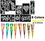 GoIndia Henna Tattoo Kit - 8 Color Powder Body Art Painting Henna Cones With 11 Henna Stencils