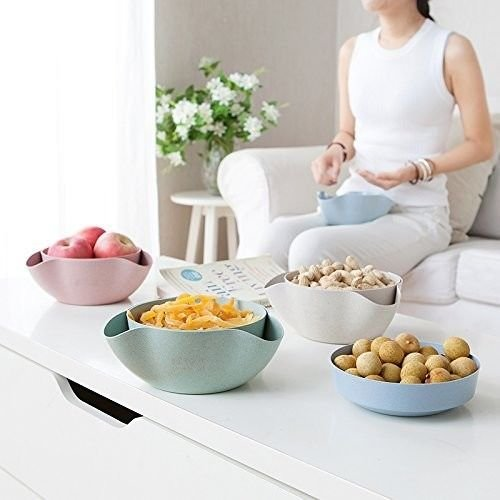 Warren Products Blue Pistachio Bowl, Double Dish Snack Bowl, Nut Bowl, Serving Bowl for Fruit, Nuts, Candy, More!