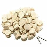 SODIAL 100x 25mm Wool Felt Polishing Buffing Round Wheel Tool + 2 Shank for Dremel Use