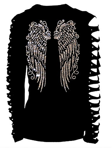 Bling Fashion T-shirt (Long Angel Wings Bling Bling Rhinestones T-Shirt Ripped Cut Out Long (2X-Large))