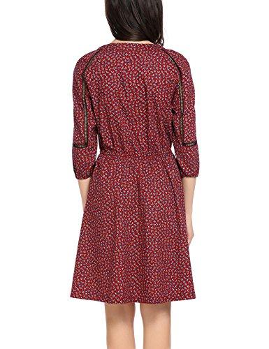 Dozenla Femmes Femmes Robe Cou Carré Robe À Pois De Style De Années 1950 Femmes Partie Coctail Cru Robes De Robe Swing Floral Rouge