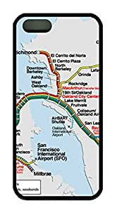 Bay Area Rapid Transit Map Theme Case for IPhone 4 4S Rubber Material Black