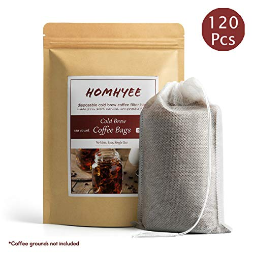 No Mess Cold Brew Coffee Filters - 120 Count Disposable Fine Mesh Brewing Bags for Concentrate/Iced Coffee Maker, French/Cold Press Kit, Hot Tea in Mason Jar or Pitcher, 4 x 6 Inches (Cold Brew Coffee Without A French Press)