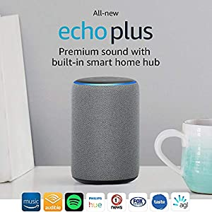All-new Echo Plus (2nd gen) – Premium sound with a built-in smart home hub - Heather Grey Fabric