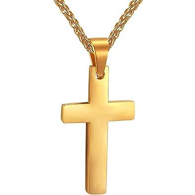 PROSTEEL Collier Homme Croix Simple Plaqué Or Pendentif avec Chaîne Maille  Spiga 60cm Offerte Bijoux Religieux 62ee585903d9