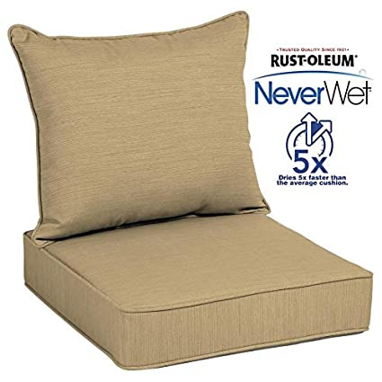 Allen + Roth Neverwet 1 Piece Deep Seat Outdoor Patio Chair Cushion In Tan