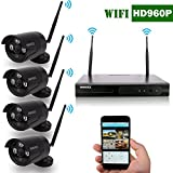 OOSSXX 8-Channel HD 1080P Wireless Network/IP Security Camera System(IP Wireless WIFI NVR Kits),4Pcs 960P Megapixel Wireless Indoor/Outdoor IR Bullet IP Cameras,P2P,App,No HDD