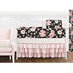 Sweet-Jojo-Designs-Black-Blush-Pink-and-Gold-Shabby-Chic-Watercolor-Floral-Baby-Girl-Crib-Bedding-Set-with-Bumper-9-Pieces-Rose-Flower-Polka-Dot