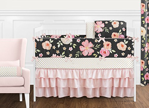 Sweet Jojo Designs Black, Blush Pink and Gold Shabby Chic Watercolor Floral Baby Girl Crib Bedding Set with Bumper - 9 Pieces - Rose Flower Polka Dot