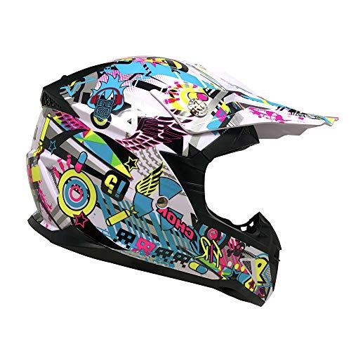 MYK Motorcycle Youth Kids Helmet Off-Road MX ATV Dirt Bike Motocross UTV - WHITE/Multi Color (Large)