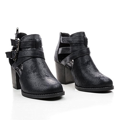 Buckle Side Heel Out Toe Stacked Bootie Black Round Chpu Block Cut Dual Ankle 4OwEcgqt
